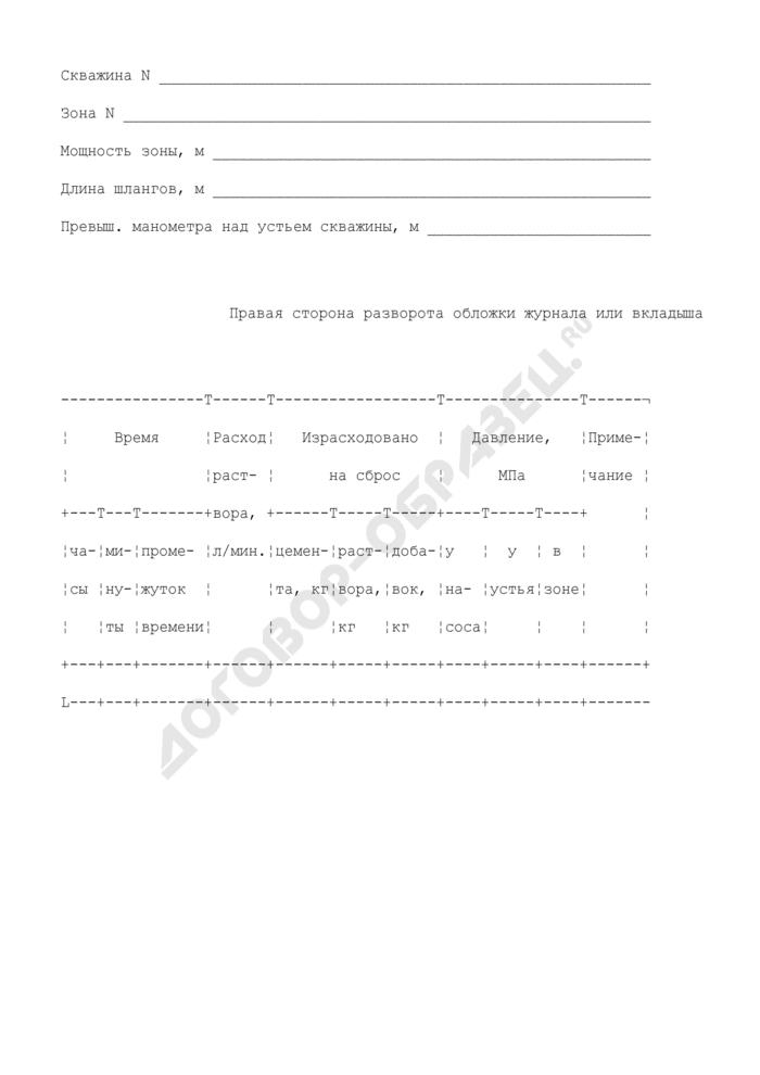 Журнал инъекции скважины гидротехнического сооружения. Форма N 2. Страница 3