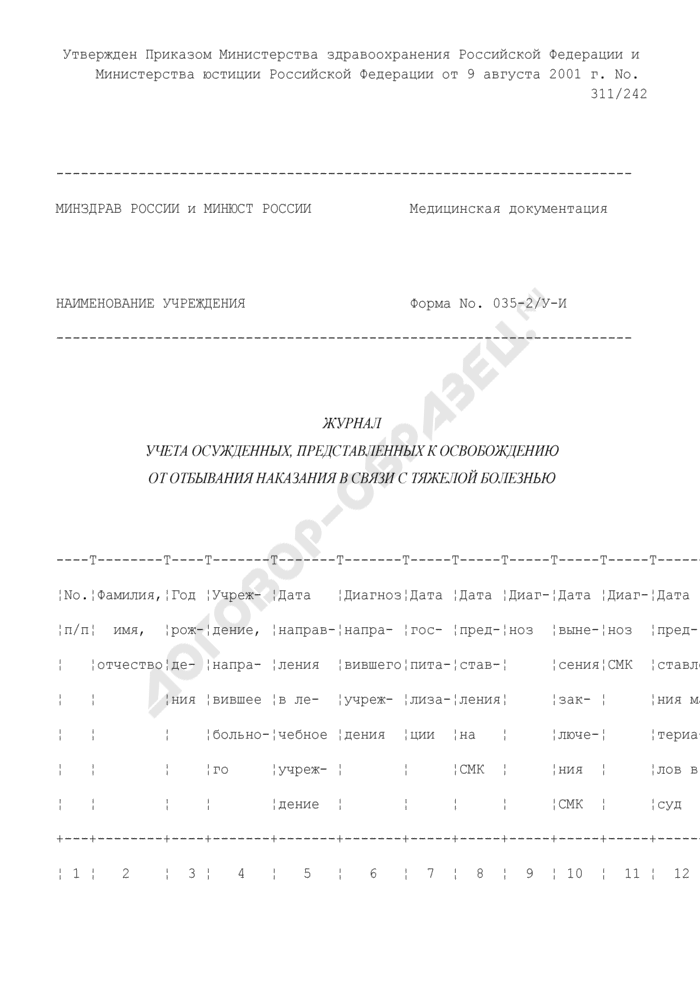 Журнал учета осужденных, представленных к освобождению от отбывания наказания в связи с тяжелой болезнью. Форма N 035-2/У-И. Страница 1