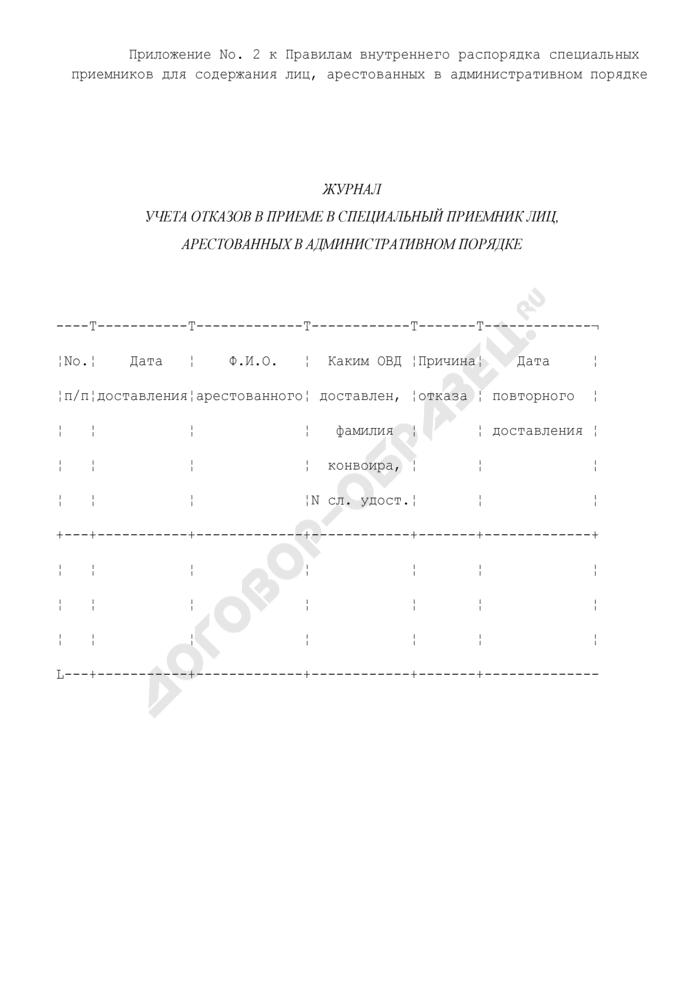 Журнал учета отказов в приеме в специальный приемник лиц, арестованных в административном порядке. Страница 1