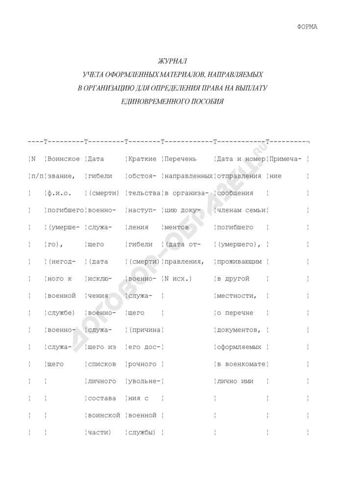Журнал учета оформленных материалов, направляемых в организацию для определения права на выплату единовременного пособия. Страница 1