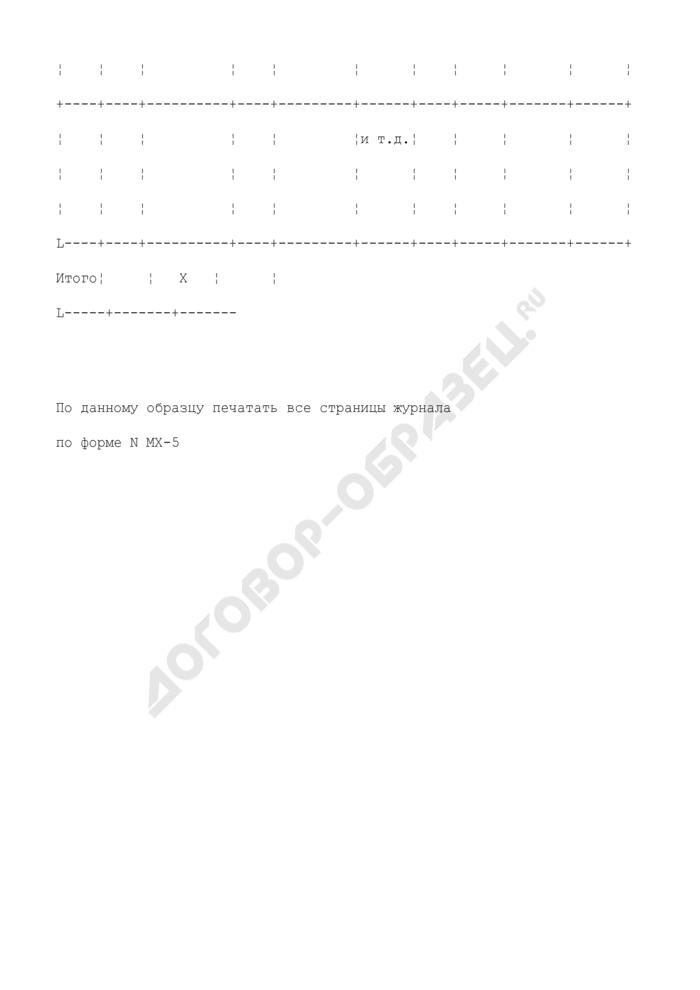 Журнал учета поступления продукции, товарно-материальных ценностей в места хранения. Унифицированная форма N МХ-5. Страница 3