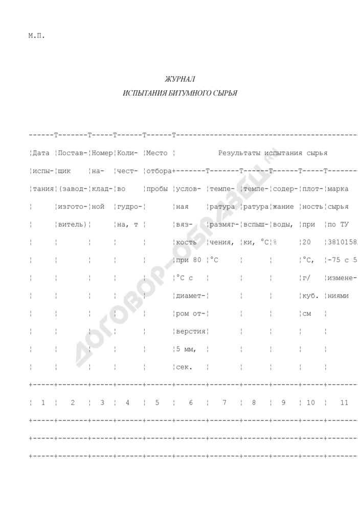 Журнал испытания битумного сырья. Форма N Ф-24. Страница 2