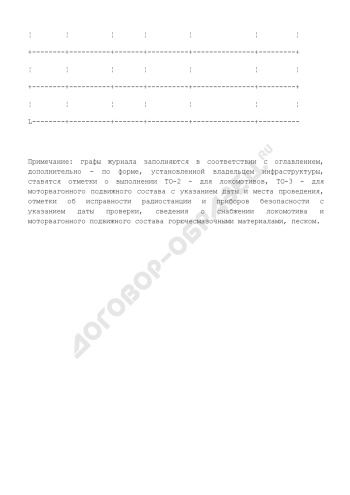 Бортовой журнал локомотива и моторвагонного подвижного состава. Страница 2