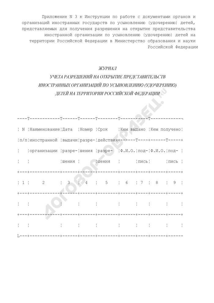 Журнал учета разрешений на открытие представительств иностранных организаций по усыновлению (удочерению) детей на территории Российской Федерации. Страница 1