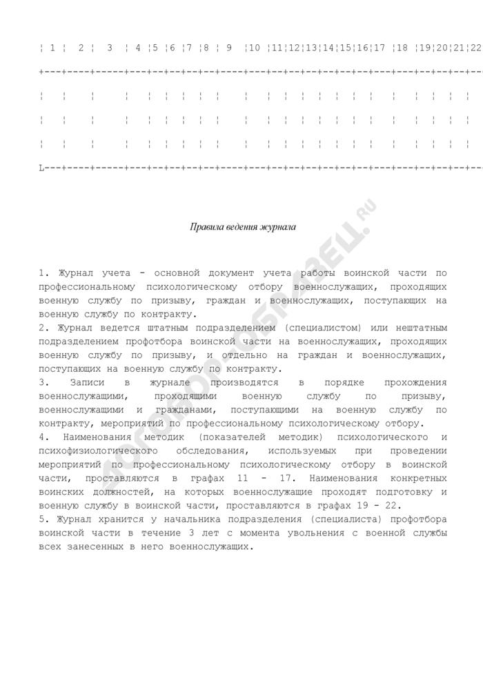 Журнал учета работы подразделения (специалиста) профотбора войсковой части. Страница 2