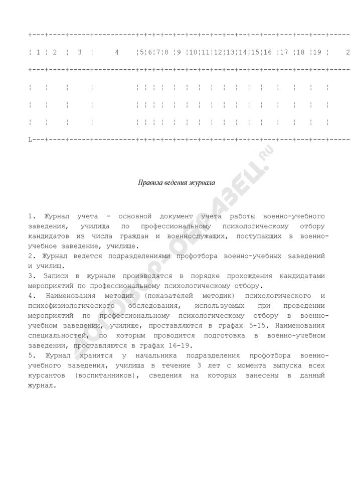 Журнал учета работы подразделения профотбора военно-учебного заведения, училища. Страница 2