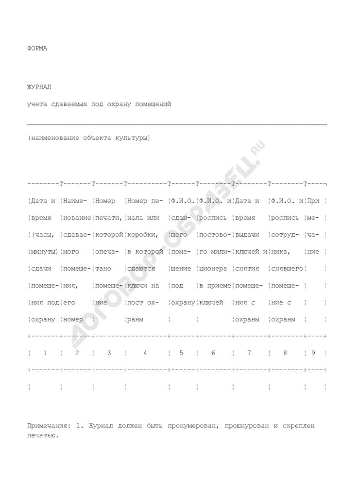 Журнал учета сдаваемых под охрану помещений объекта культуры. Страница 1