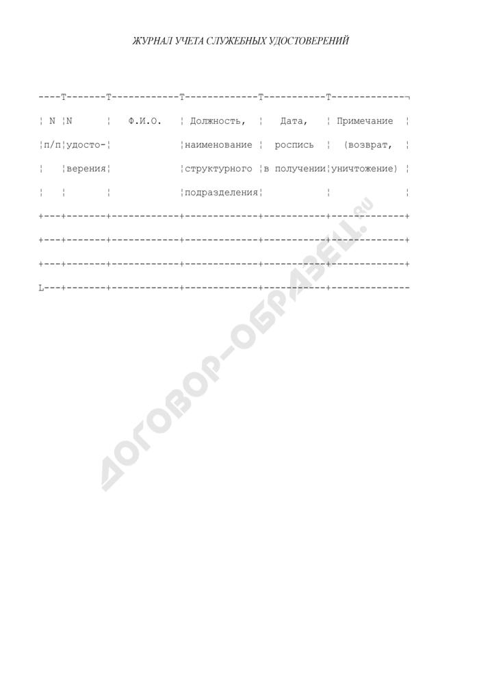 Журнал учета служебных удостоверений работников Федеральной антимонопольной службы. Страница 1