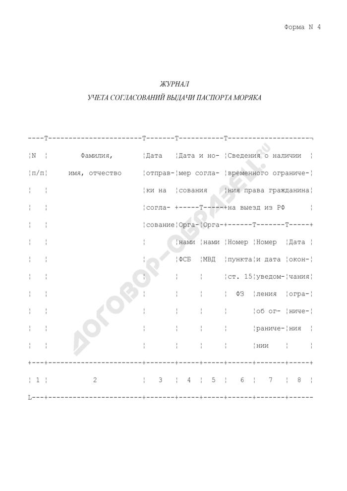 Журнал учета согласований выдачи паспорта моряка. Форма N 4. Страница 1