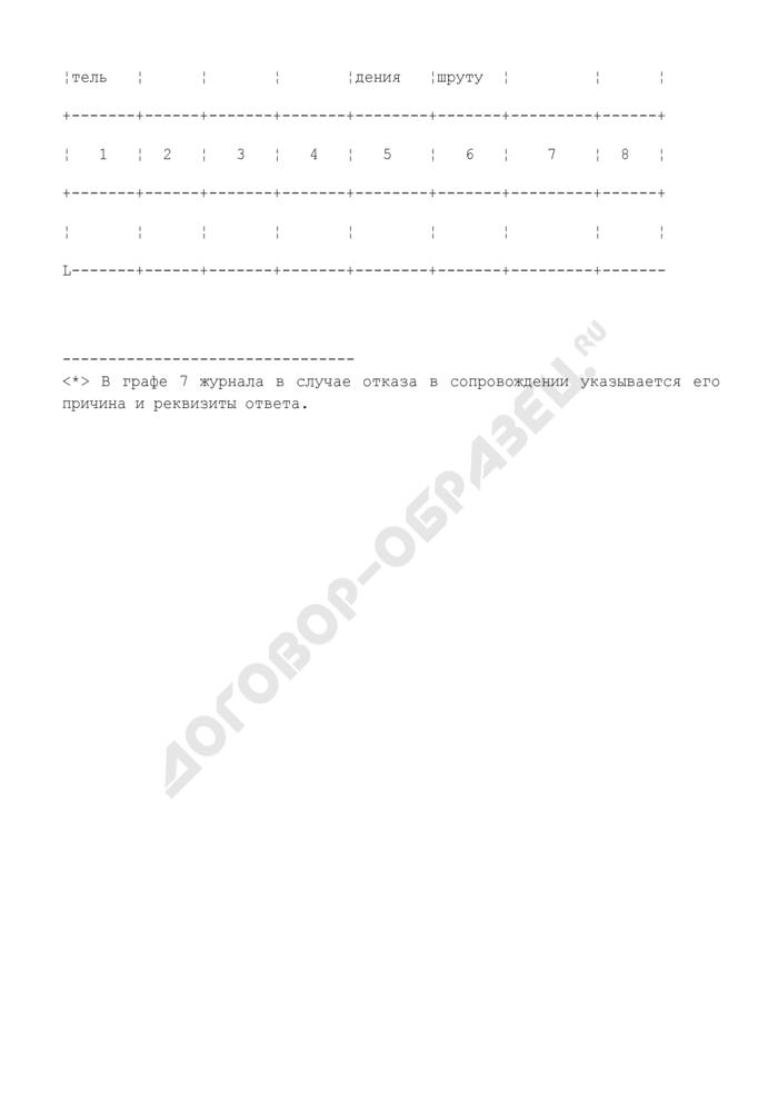 Журнал учета сопровождений транспортных средств автомобилем (автомобилями) госавтоинспекции (образец). Страница 2