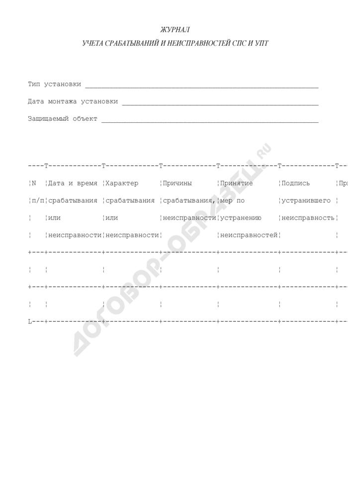 Журнал учета срабатываний и неисправностей СПС и УПТ в городе Москве. Страница 1