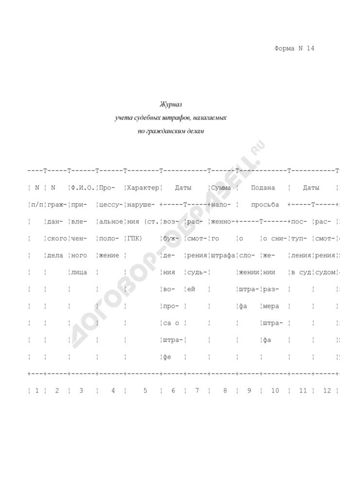 Журнал учета судебных штрафов, налагаемых по гражданским делам. Форма N 14. Страница 1