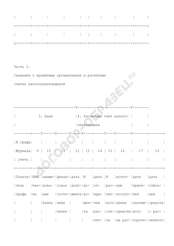 Журнал учета сумм обязательных платежей налогоплательщиков, не перечисленных банками в бюджетную систему Российской Федерации. Страница 2
