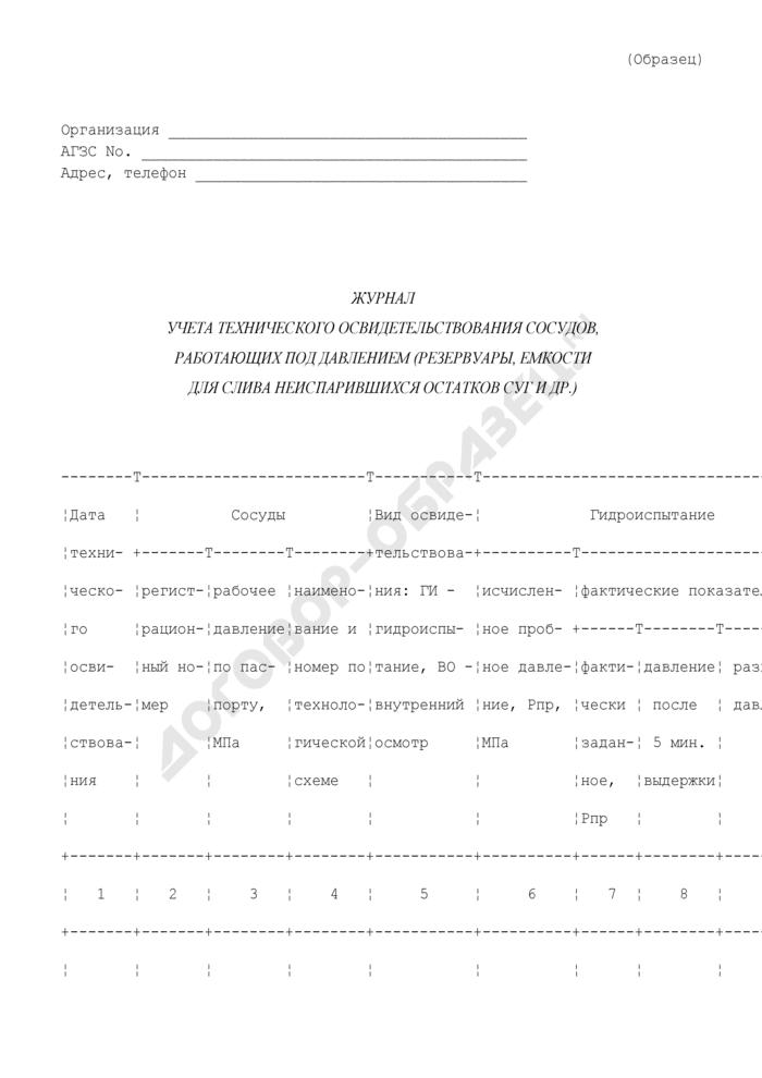 Журнал учета технического освидетельствования сосудов, работающих под давлением (резервуары, емкости для слива неиспарившихся остатков сжиженных углеводородных газов и др.). Страница 1