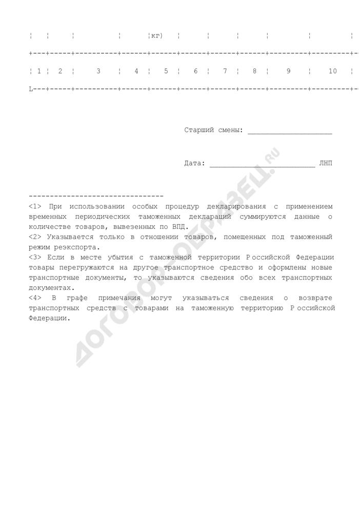 Журнал учета товаров при их убытии с таможенной территории Российской Федерации. Страница 2