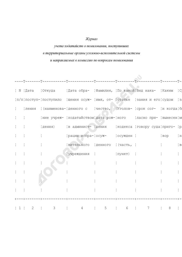Журнал учета ходатайств о помиловании, поступивших в территориальные органы уголовно-исполнительной системы и направляемых в комиссию по вопросам помилования. Страница 1