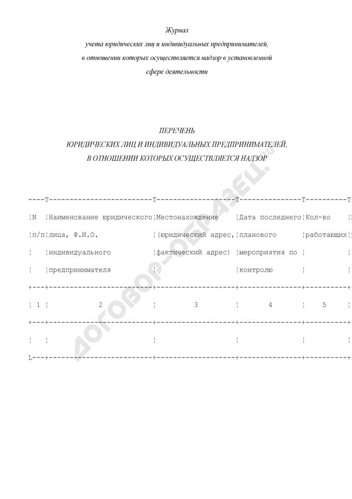 Журнал учета юридических лиц и индивидуальных предпринимателей, в отношении которых осуществляется надзор в установленной сфере деятельности. Страница 1