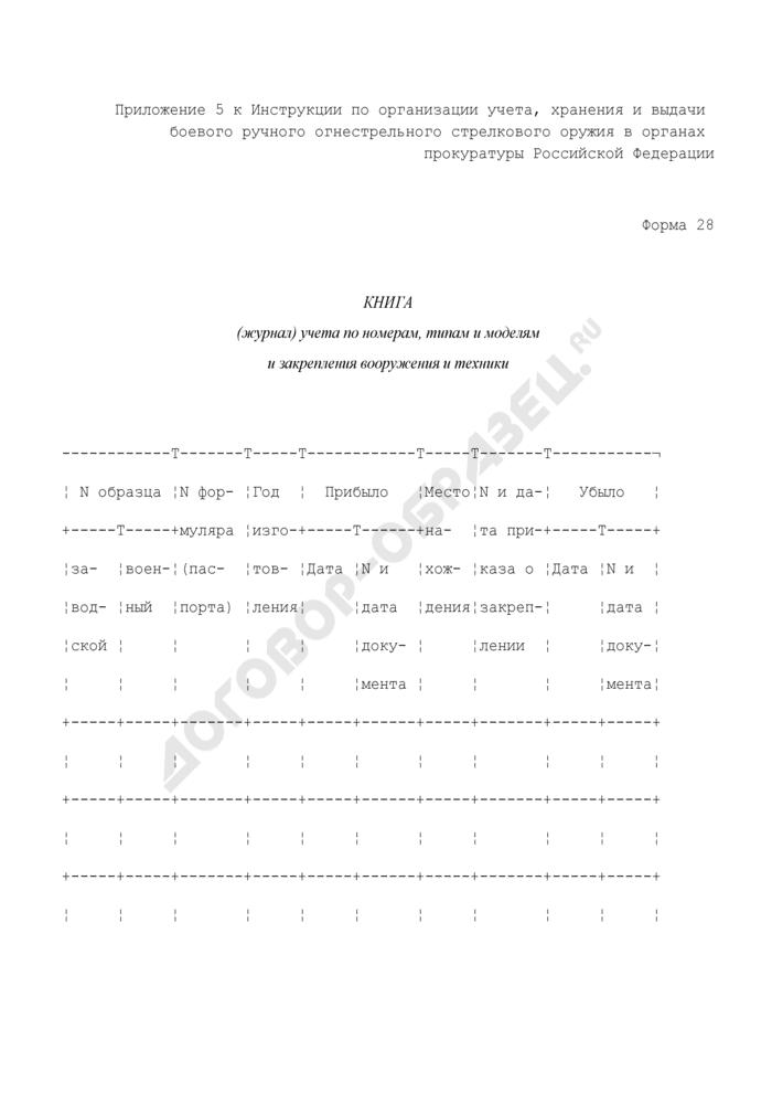 Книга (журнал) учета по номерам, типам и моделям и закрепления вооружения и техники. Форма N 28. Страница 1