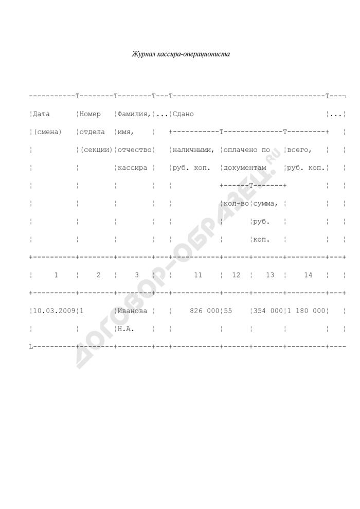 Образец заполнения журнала кассира-операциониста. Страница 1