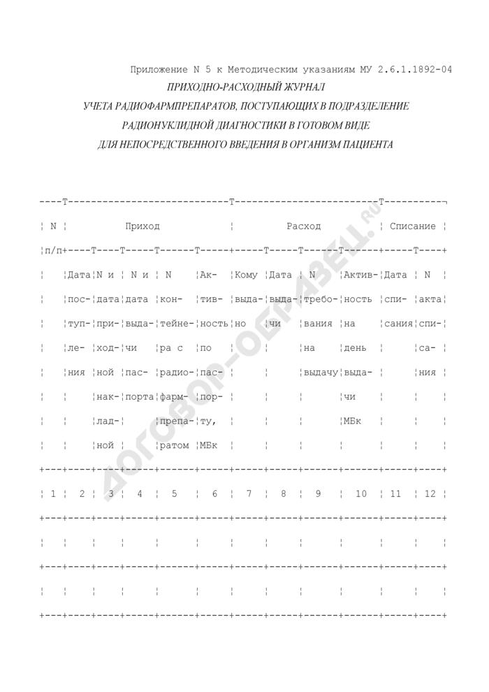 Приходно-расходный журнал учета радиофармпрепаратов, поступающих в подразделение радионуклидной диагностики в готовом виде для непосредственного введения в организм пациента. Страница 1