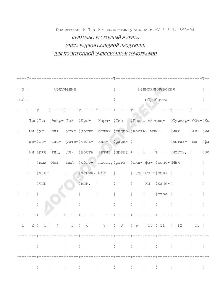 Приходно-расходный журнал учета радионуклидной продукции для позитронной эмиссионной томографии. Страница 1