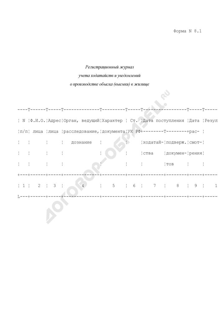 Регистрационный журнал учета ходатайств и уведомлений о производстве обыска (выемки) в жилище. Форма N 8.1. Страница 1