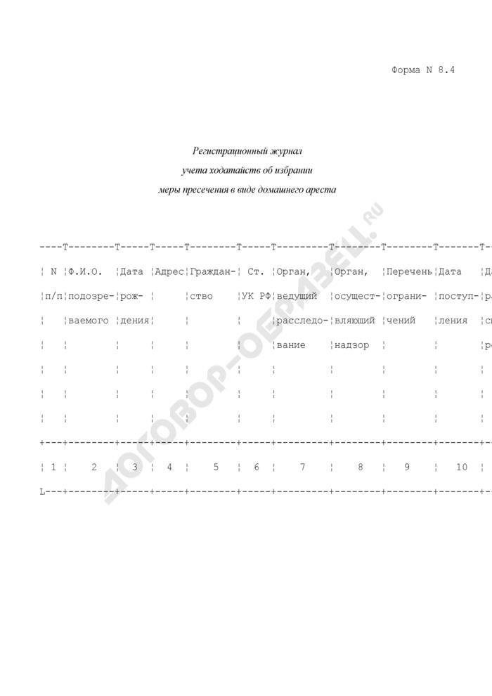 Регистрационный журнал учета ходатайств об избрании меры пресечения в виде домашнего ареста. Форма N 8.4. Страница 1