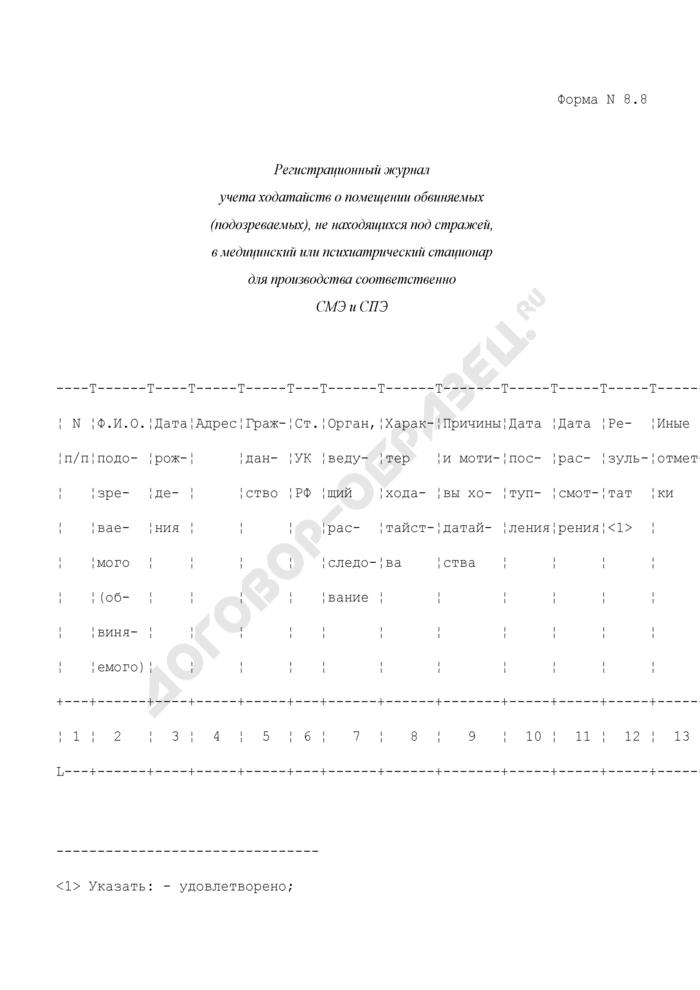 Регистрационный журнал учета ходатайств о помещении обвиняемых (подозреваемых), не находящихся под стражей, в медицинский или психиатрический стационар для производства соответственно СМЭ и СПЭ. Форма N 8.8. Страница 1