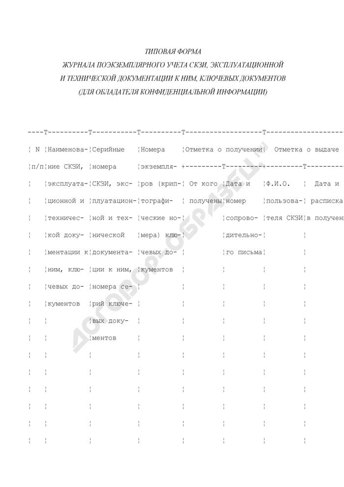 Типовая форма журнала поэкземплярного учета средств криптографической защиты конфиденциальной информации, эксплуатационной и технической документации к ним, ключевых документов (для обладателя конфиденциальной информации). Страница 1