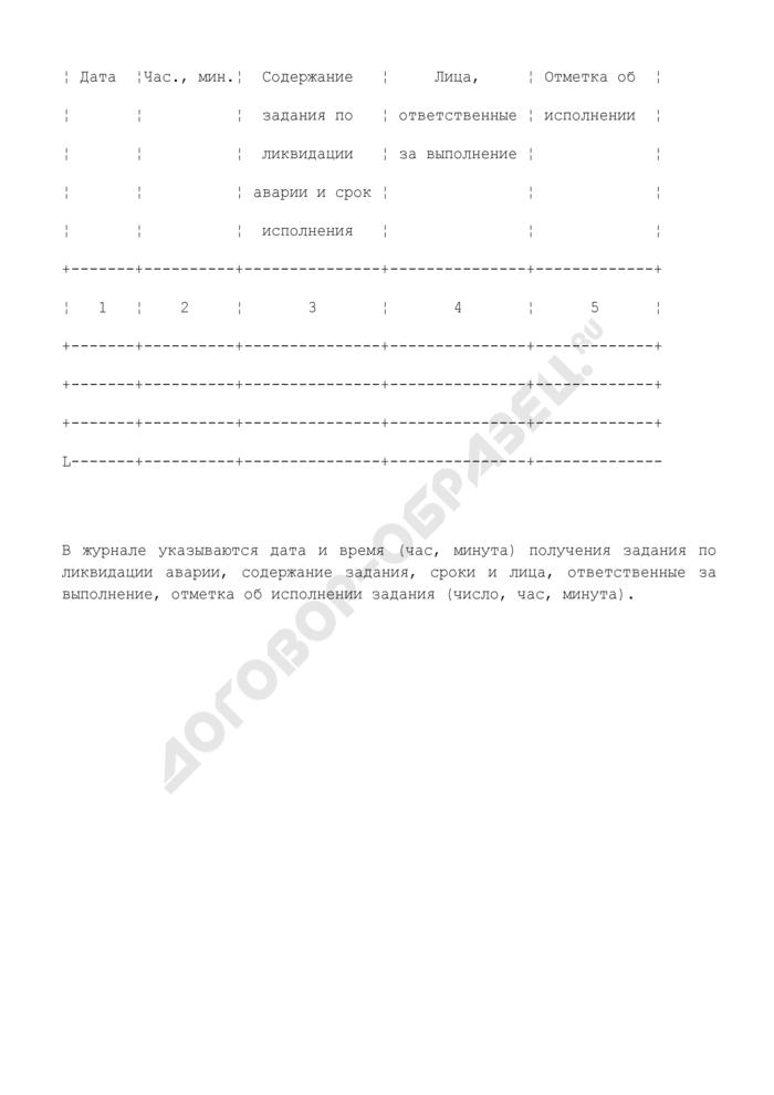 Типовая форма оперативного журнала ликвидации аварии на МНПП (таблица 11). Страница 2