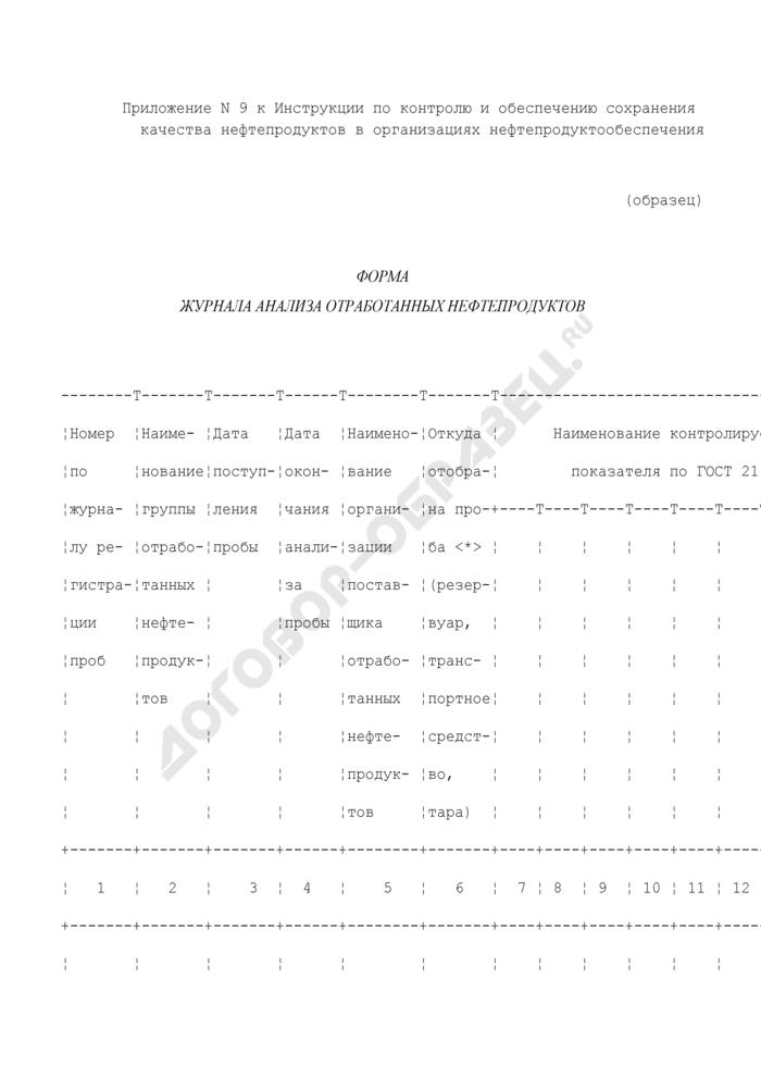 Форма журнала анализа отработанных нефтепродуктов (образец). Страница 1
