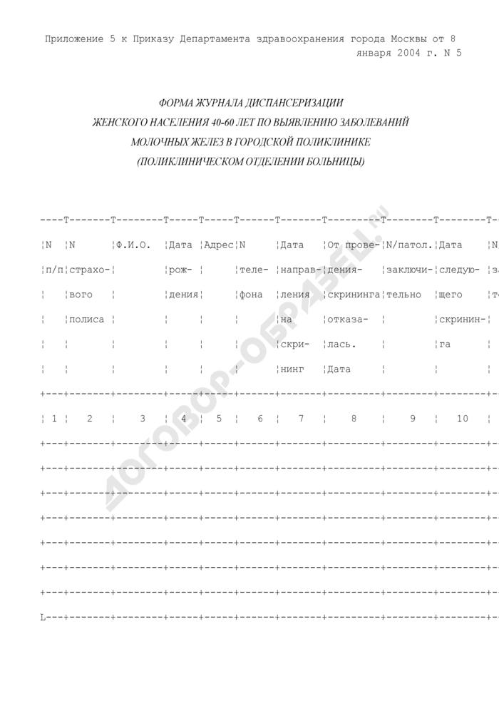 Форма журнала диспансеризации женского населения 40-60 лет по выявлению заболеваний молочных желез в городской поликлинике (поликлиническом отделении больницы). Страница 1