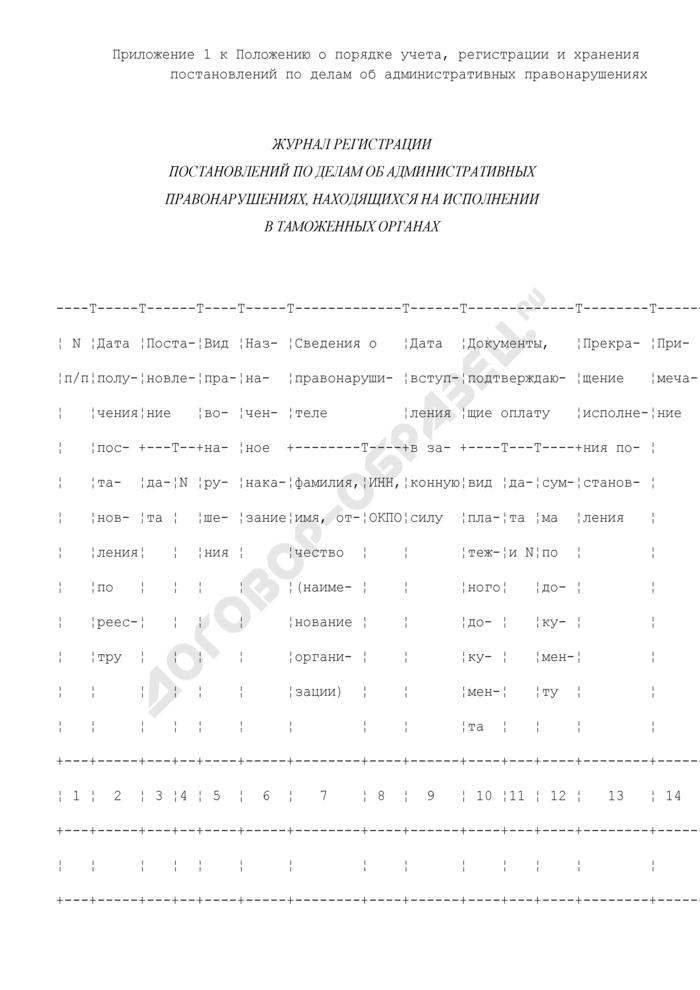 Форма журнала регистрации постановлений по делам об административных правонарушениях, находящихся на исполнении в таможенных органах. Страница 1