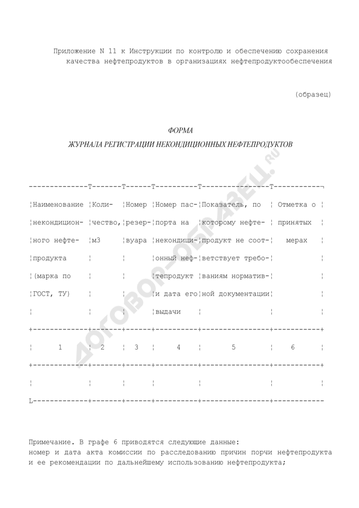Форма журнала регистрации некондиционных нефтепродуктов. Страница 1