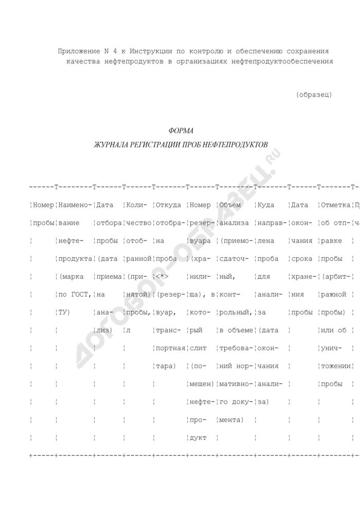 Форма журнала регистрации проб нефтепродуктов (образец). Страница 1