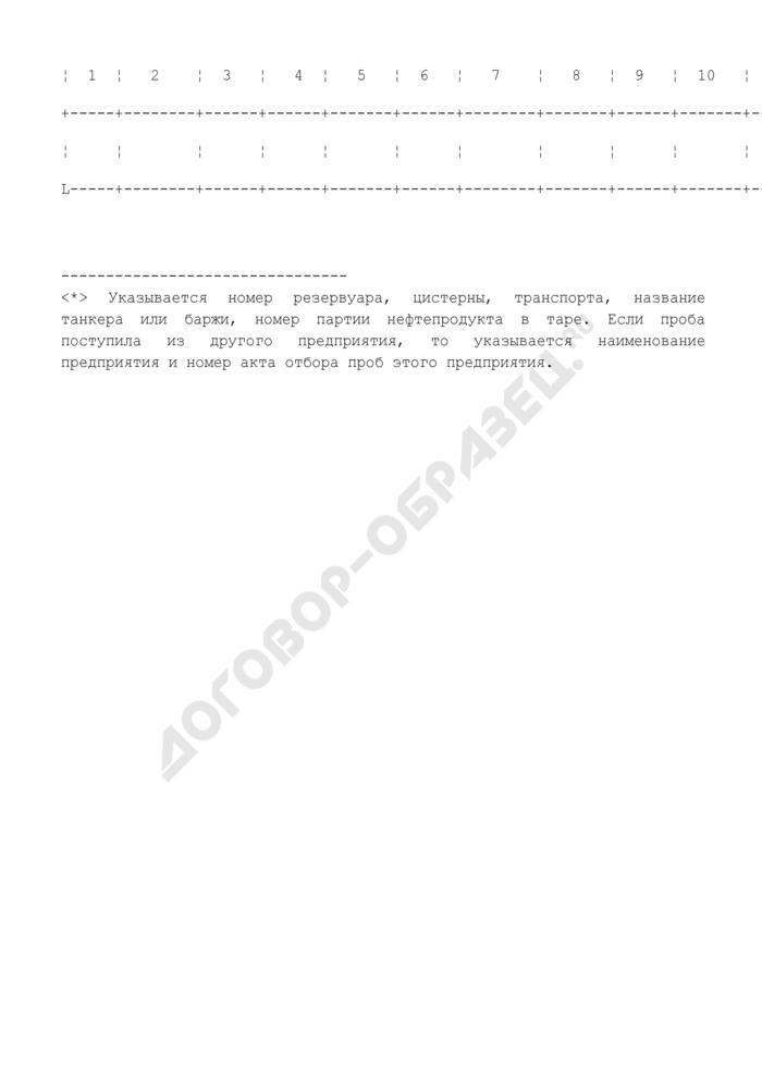 Форма журнала регистрации проб нефтепродуктов (образец). Страница 2