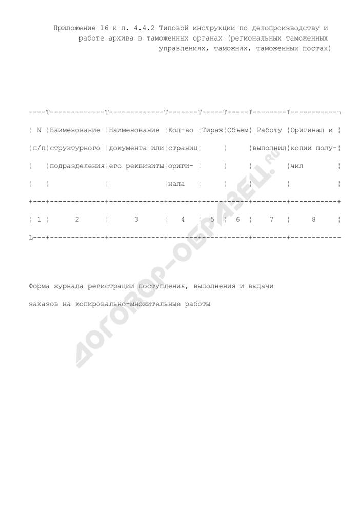 Форма журнала регистрации поступления, выполнения и выдачи заказов на копировально-множительные работы. Страница 1