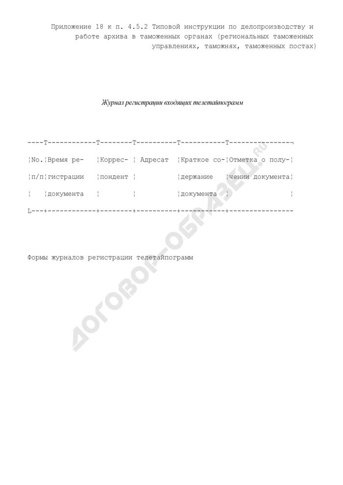 Форма журнала регистрации входящих телетайпограмм в таможенных органах. Страница 1
