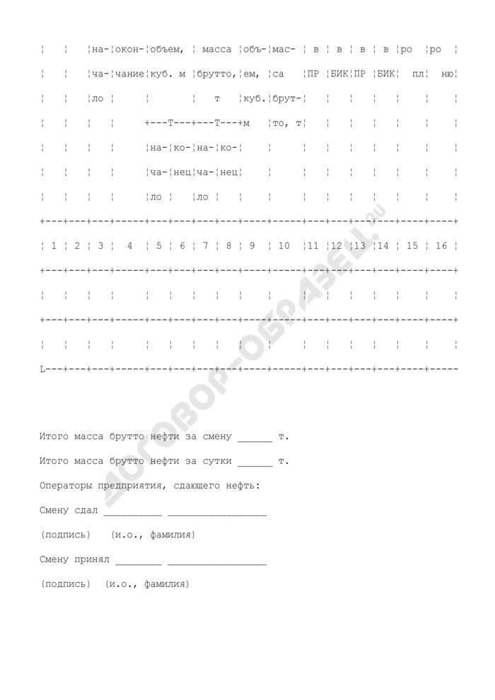 Форма журнала регистрации показаний средств измерений системы измерений количества и показателей качества нефти. Страница 2