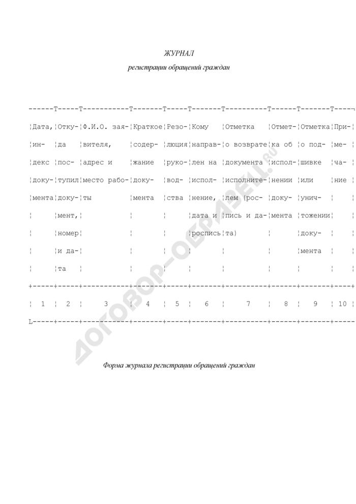 Форма журнала регистрации обращений граждан в системе Министерства Российской Федерации по делам гражданской обороны, чрезвычайным ситуациям и ликвидации последствий стихийных бедствий. Страница 1