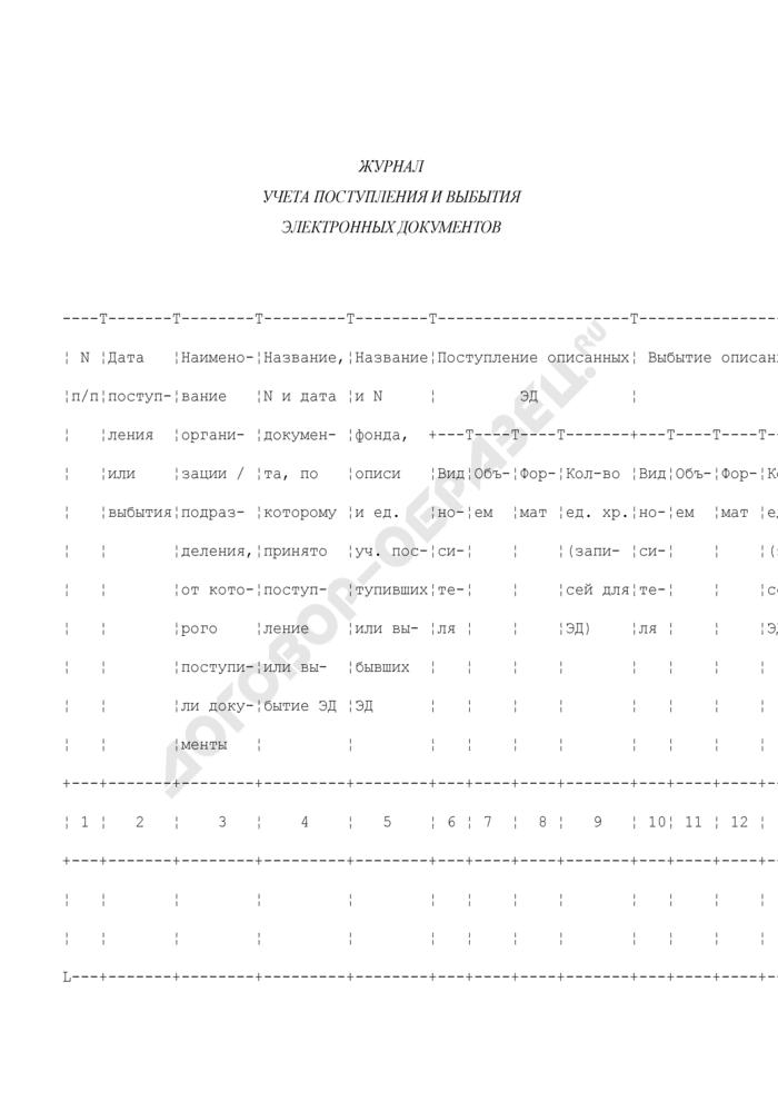 Форма журнала учета поступления и выбытия электронных документов. Страница 1