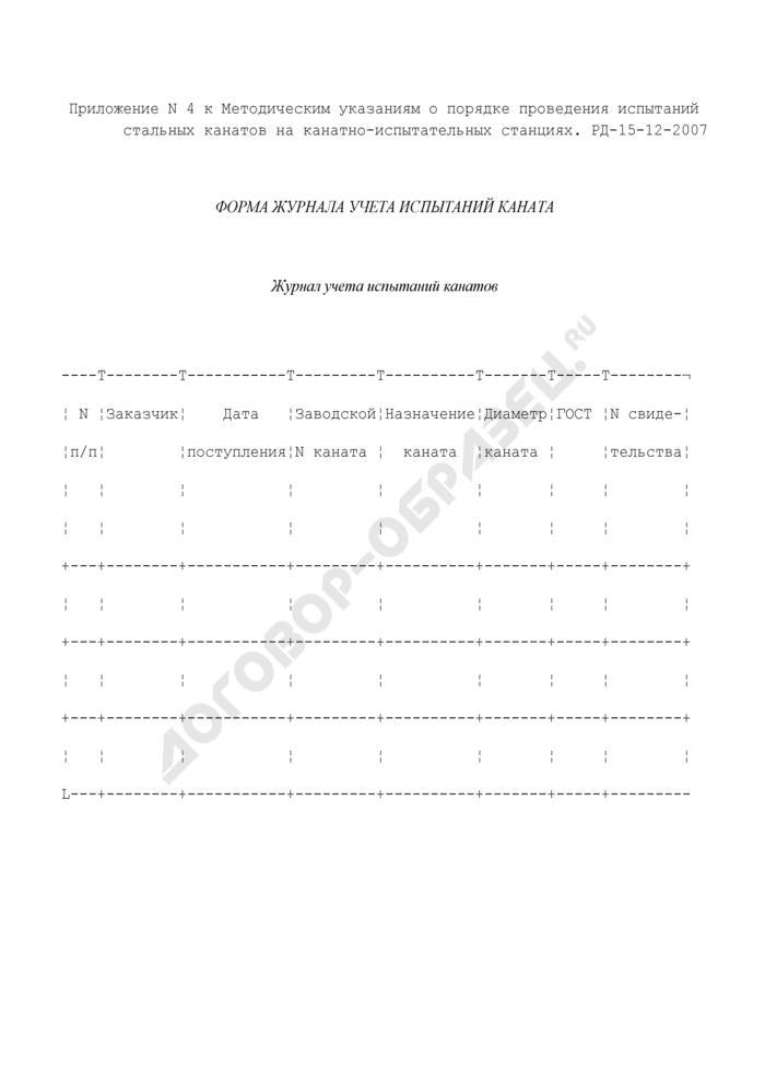 Форма журнала учета испытаний каната. Страница 1