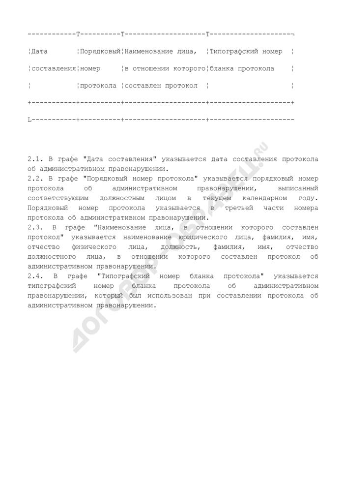 Форма журнала учета номеров протоколов об административных правонарушениях, составляемых должностными лицами Госадмтехнадзора Московской области. Страница 2