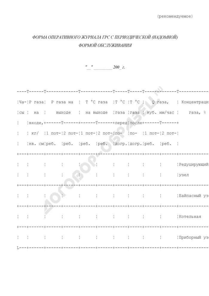 Форма оперативного журнала газораспределительной станции магистрального газопровода с периодической (надомной) формой обслуживания (рекомендуемая). Страница 1