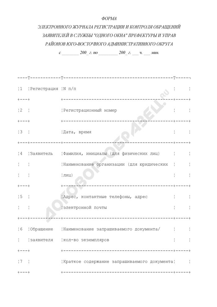 """Форма электронного журнала регистрации и контроля обращений заявителей в службы """"одного окна"""" префектуры и управ районов административного округа. Страница 1"""