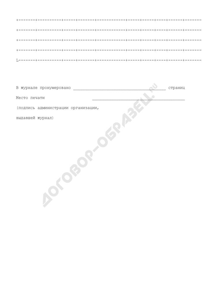Формы технической документации дорожного хозяйства. Журнал производства антикоррозионных работ. Страница 2