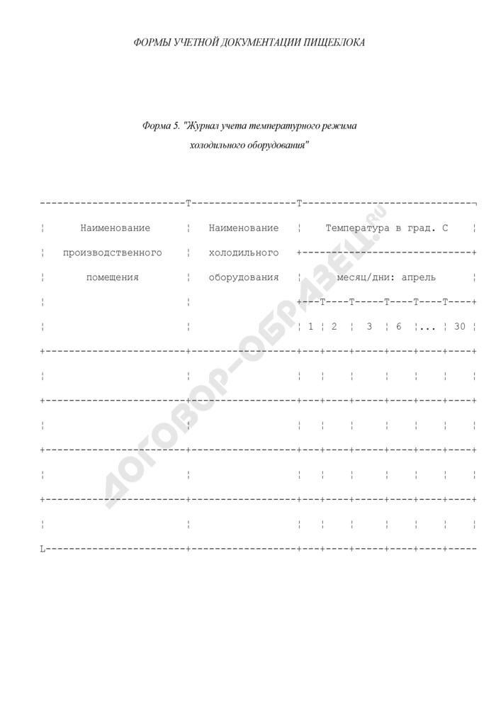 Формы учетной документации пищеблока (рекомендуемые). Журнал учета температурного режима холодильного оборудования. Форма N 5. Страница 1