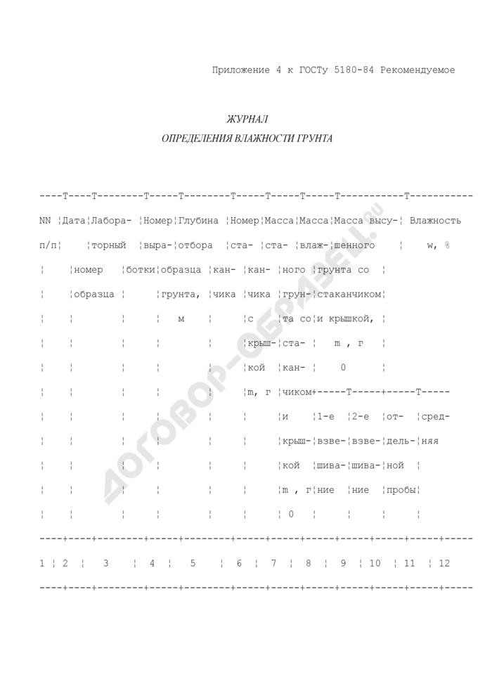 Журнал определения влажности грунта (рекомендуемая форма). Страница 1