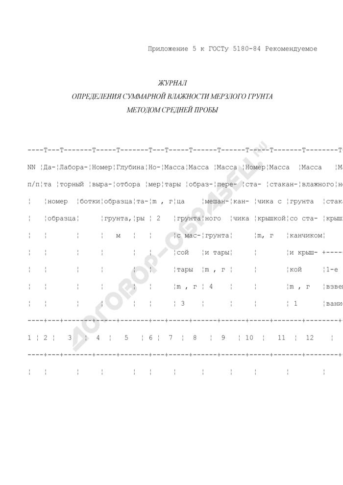 Журнал определения суммарной влажности мерзлого грунта методом средней пробы (рекомендуемая форма). Страница 1