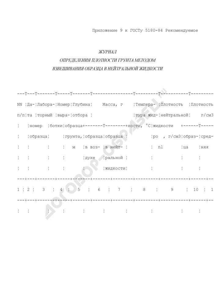 Журнал определения плотности грунта методом взвешивания образца в нейтральной жидкости (рекомендуемая форма). Страница 1
